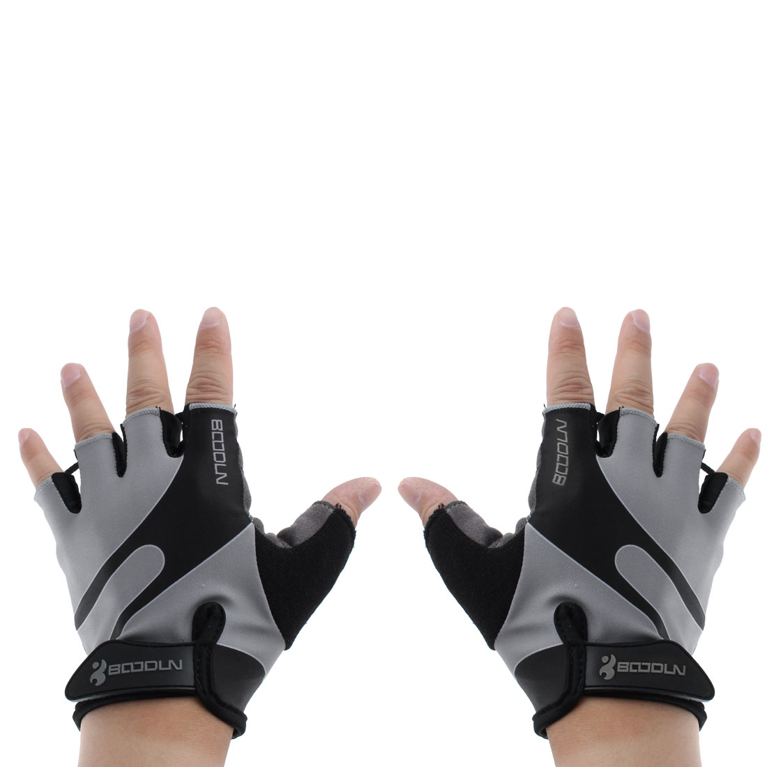 BOODUN Authorized Polyester Exercise Sports Lifting Training Bodybuilding Wrist Protector Half Finger Fitness Gloves Silver Tone XL Pair