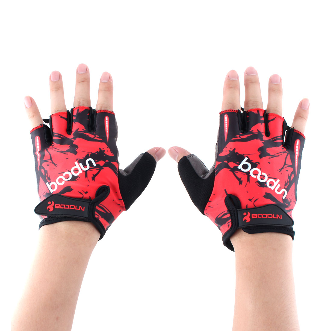 BOODUN Authorized Polyester Exercise Sports Gym Lifting Training Bodybuilding Protector Half Finger Fitness Gloves Red L Pair