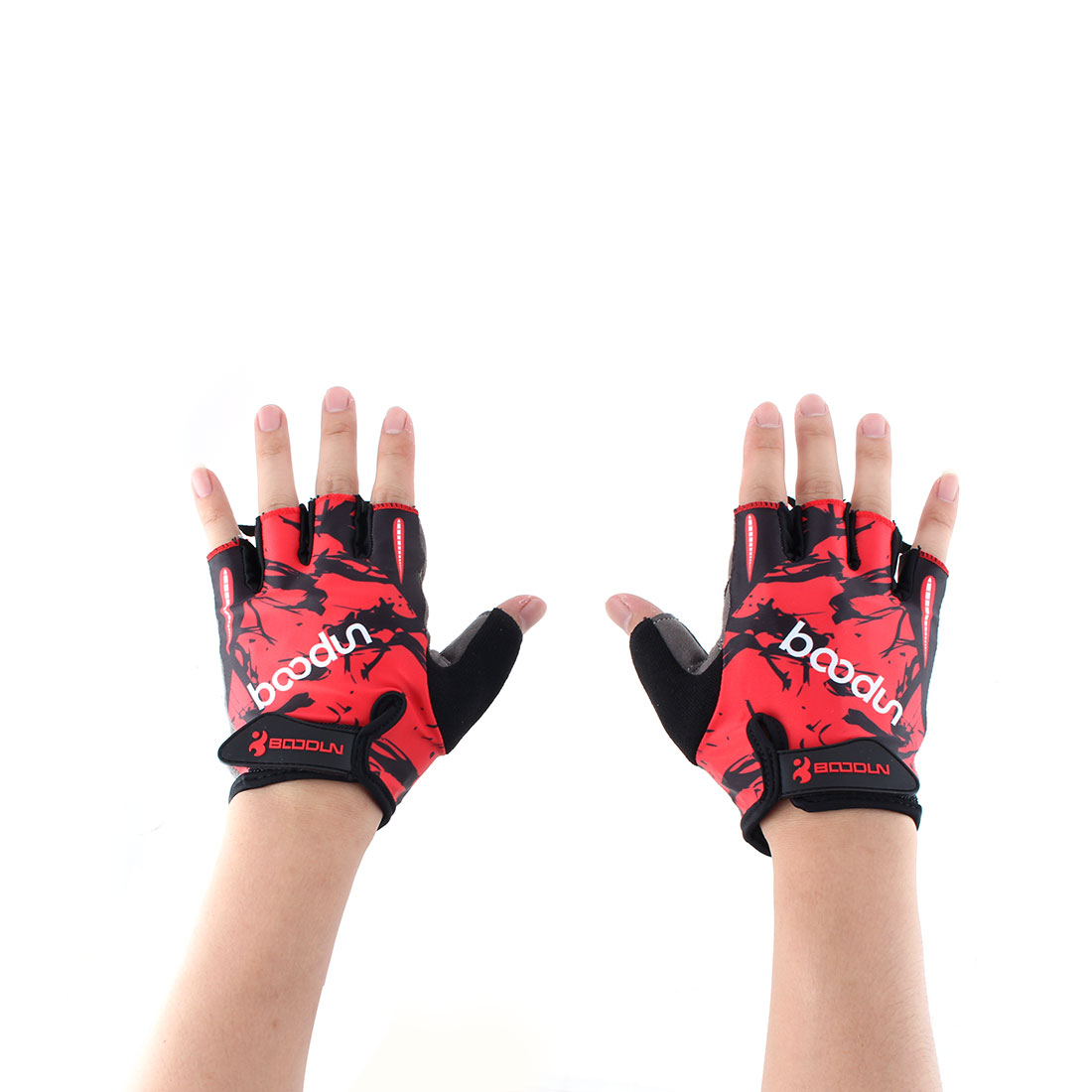 BOODUN Authorized Polyester Exercise Sports Gym Lifting Training Bodybuilding Protector Half Finger Fitness Gloves Red XL Pair