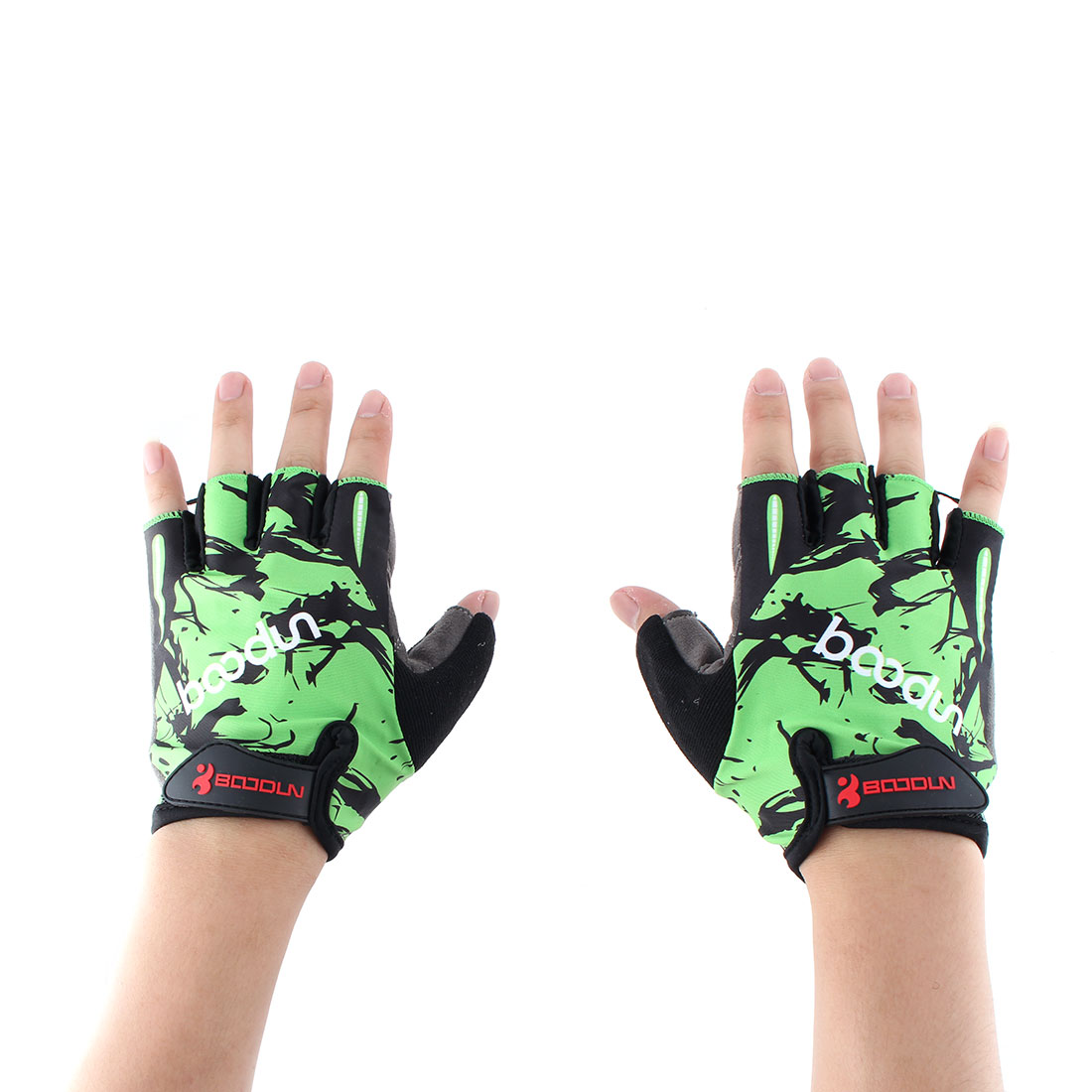 BOODUN Authorized Polyester Exercise Sports Gym Lifting Training Bodybuilding Protector Half Finger Fitness Gloves Green S Pair