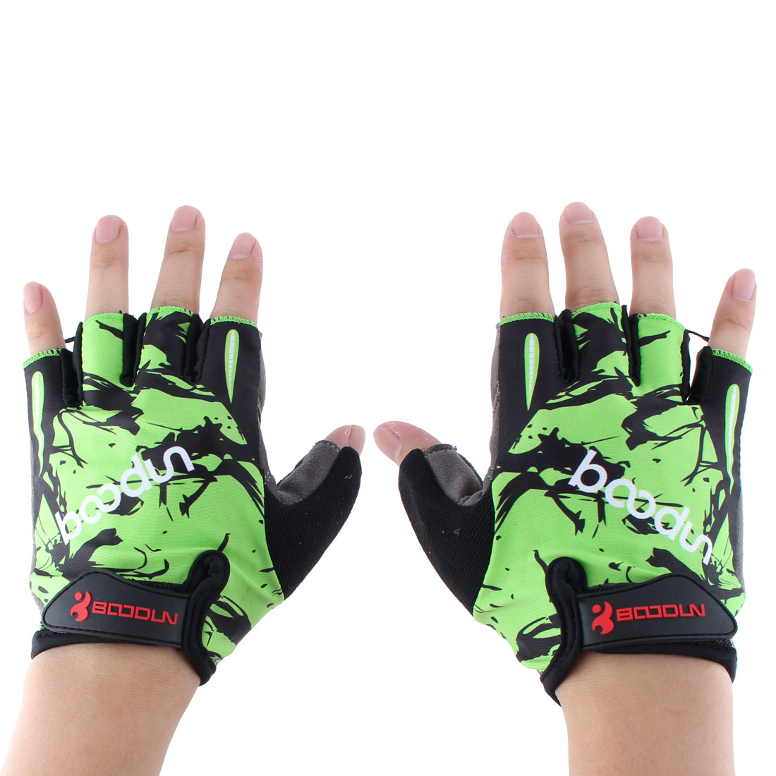 BOODUN Authorized Polyester Exercise Sports Gym Lifting Training Bodybuilding Protector Half Finger Fitness Gloves Green L Pair