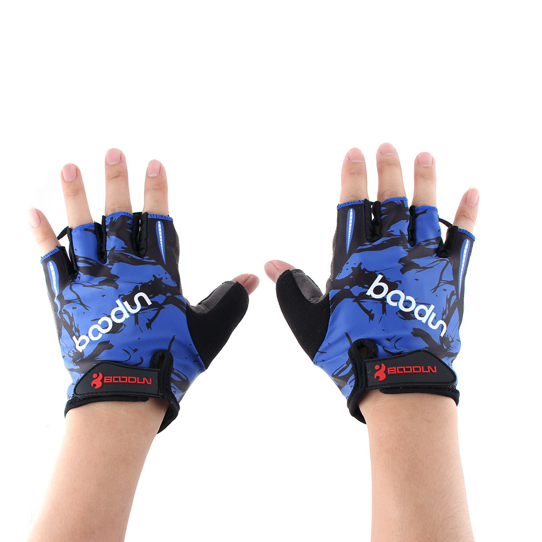 BOODUN Authorized Polyester Exercise Sports Gym Lifting Training Bodybuilding Protector Half Finger Fitness Gloves Blue M Pair