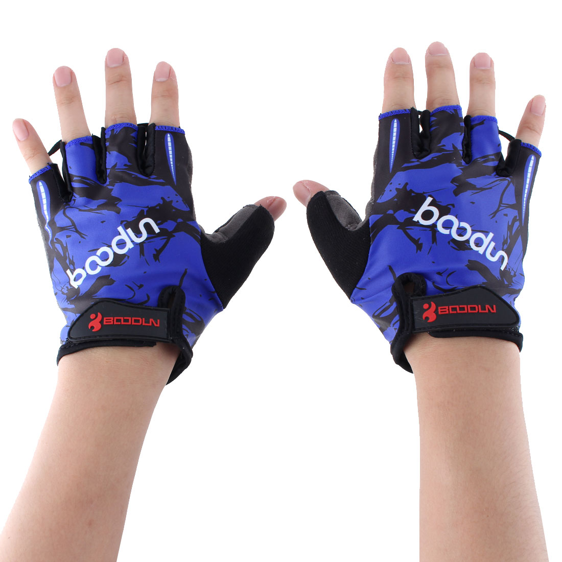 BOODUN Authorized Polyester Exercise Sports Gym Lifting Training Bodybuilding Protector Half Finger Fitness Gloves Blue L Pair