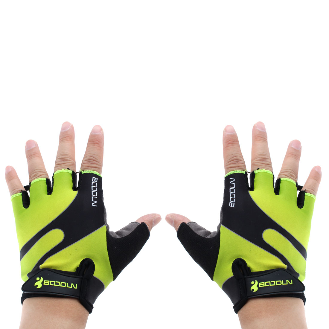 BOODUN Authorized Polyester Exercise Sports Lifting Training Bodybuilding Wrist Protector Half Finger Fitness Gloves Fluorescence Green XL Pair