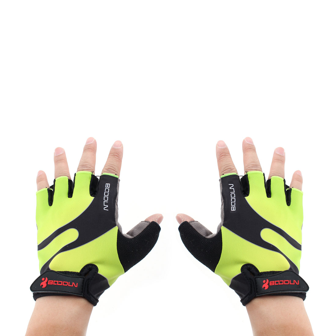BOODUN Authorized Polyester Exercise Sports Lifting Training Bodybuilding Wrist Protector Half Finger Fitness Gloves Fluorescence Green XXL Pair