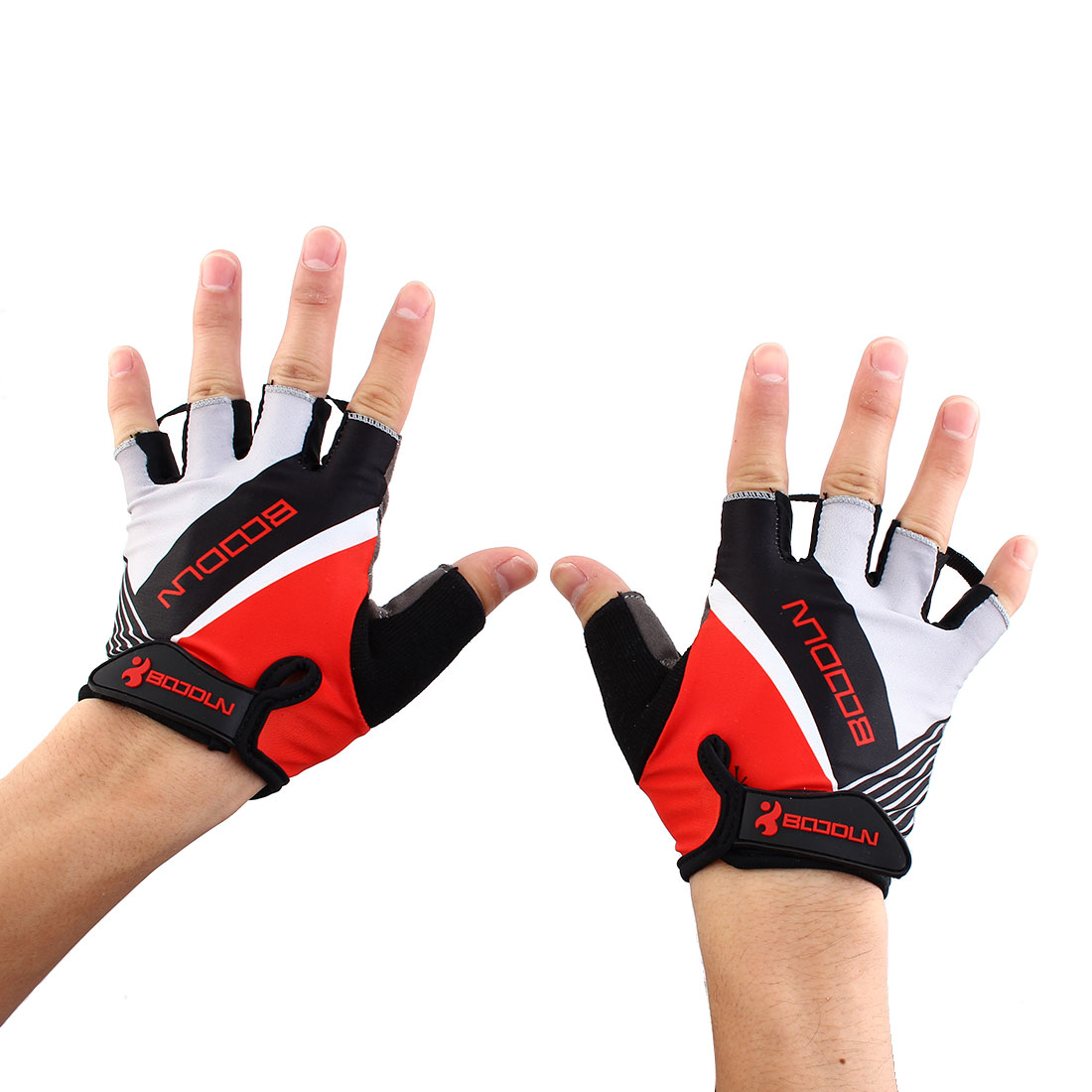 BOODUN Authorized Unisex Exercise Sports Cycling Fitness Half Finger Palm Support Gloves Red Size M Pair