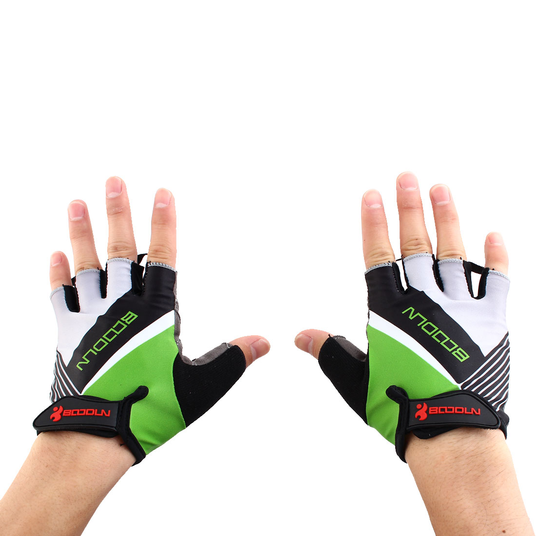 BOODUN Authorized Unisex Exercise Sports Cycling Fitness Half Finger Palm Support Gloves Green Size L Pair