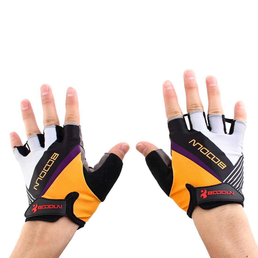 BOODUN Authorized Unisex Exercise Sports Cycling Fitness Half Finger Palm Support Gloves Yellow Size L Pair