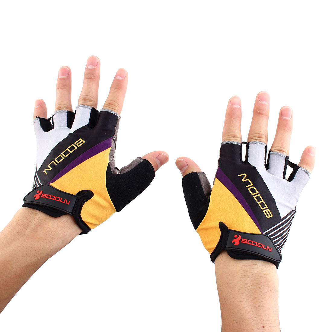 BOODUN Authorized Unisex Exercise Sports Cycling Fitness Half Finger Palm Support Gloves Yellow Size XL Pair