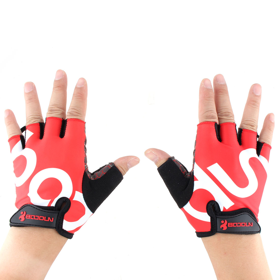 BOODUN Authorized Unisex Outdoor Sports Cycling Biking Exercise Adjustable Fitness Half Finger Gloves Red S Size Pair