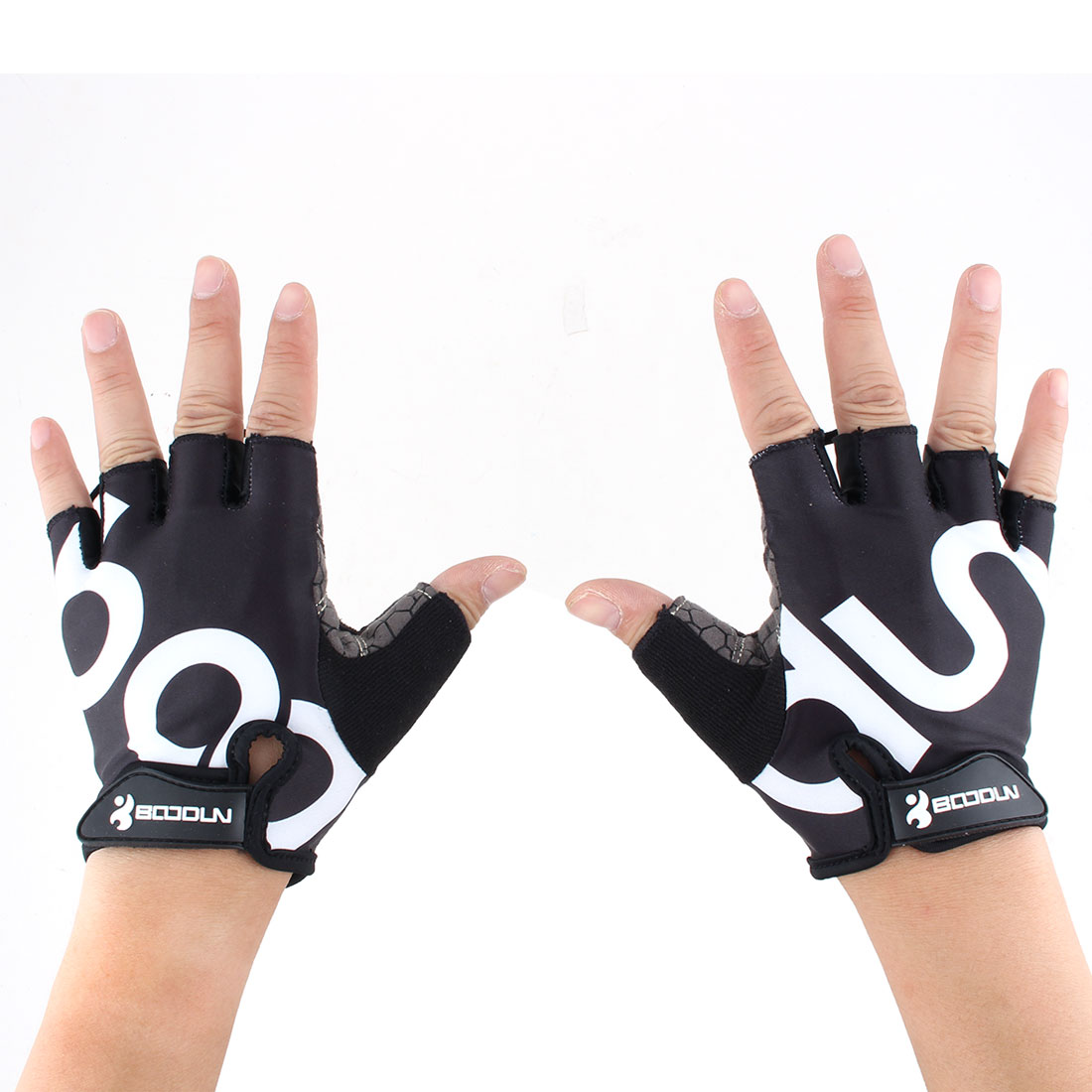 BOODUN Authorized Unisex Outdoor Sports Cycling Biking Exercise Adjustable Fitness Half Finger Gloves Black L Size Pair