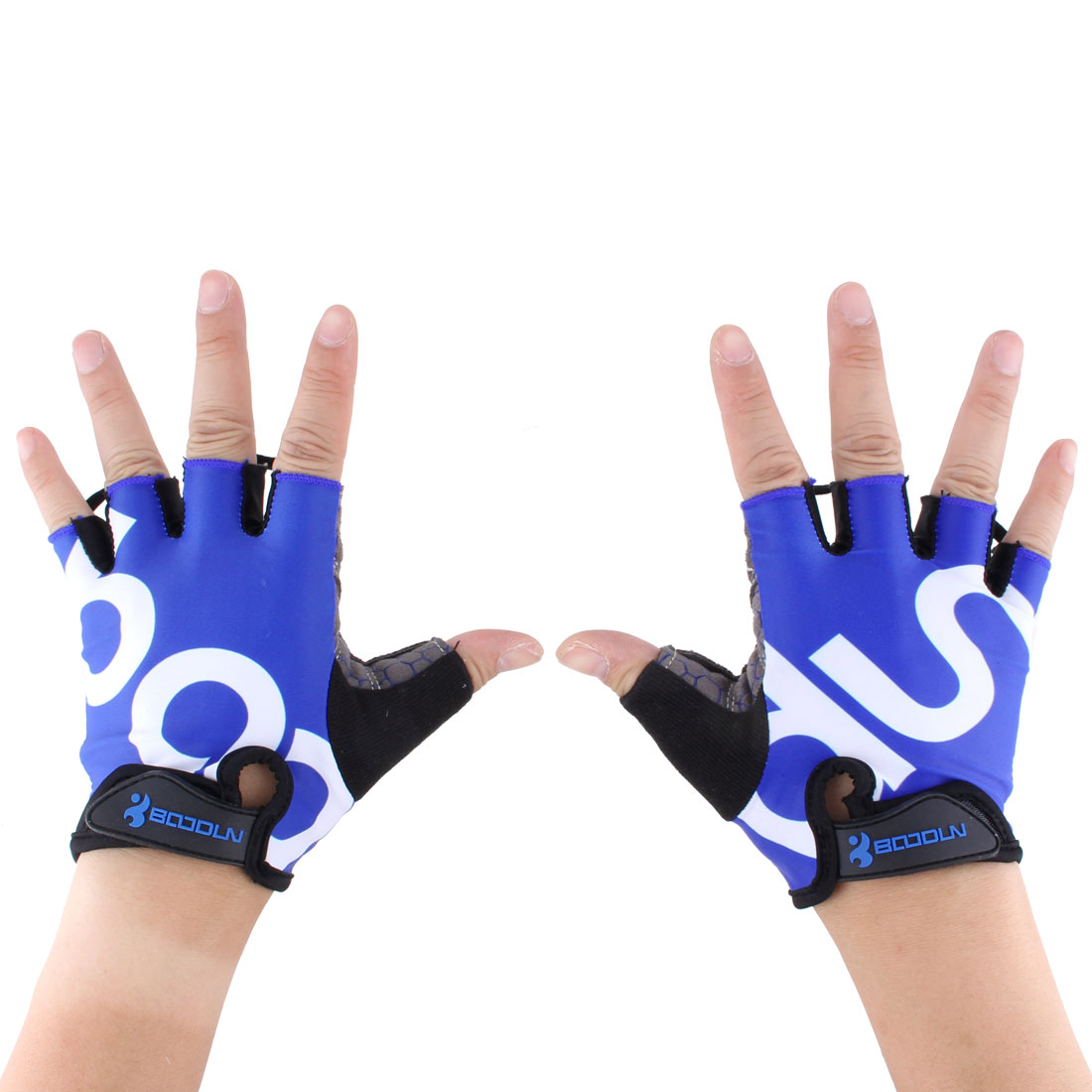 BOODUN Authorized Unisex Outdoor Sports Cycling Biking Exercise Adjustable Fitness Half Finger Gloves Blue L Size Pair