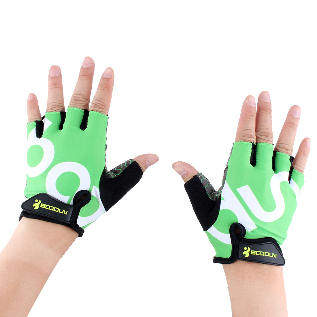 BOODUN Authorized Unisex Outdoor Sports Cycling Biking Exercise Adjustable Fitness Half Finger Gloves Green M Size Pair