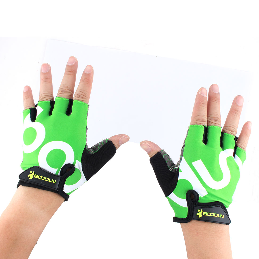 BOODUN Authorized Unisex Outdoor Sports Cycling Biking Exercise Adjustable Fitness Half Finger Gloves Green L Size Pair