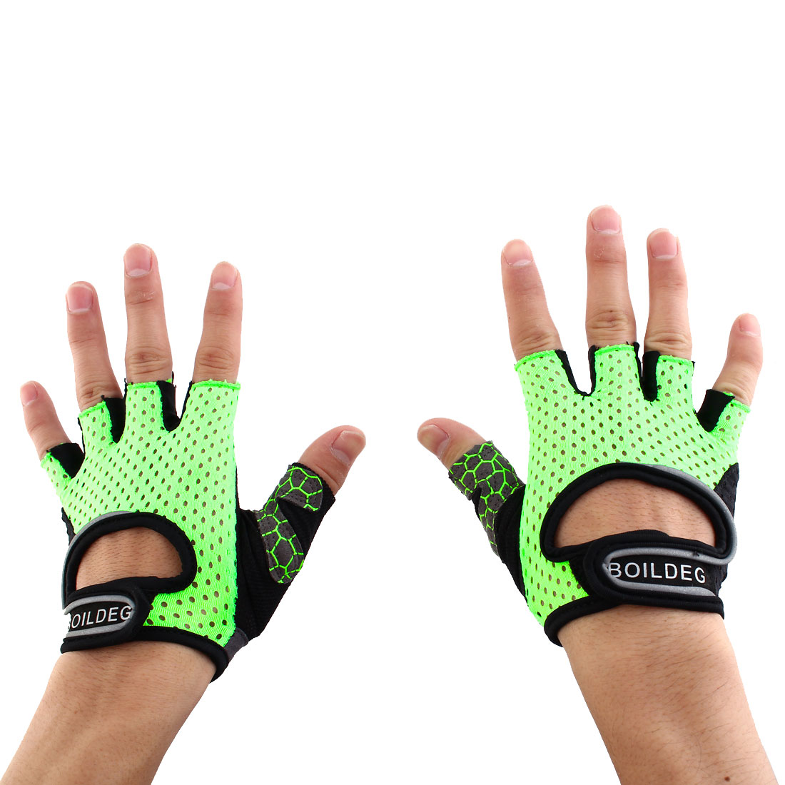 BOILDEG Authorized Unisex Sports Weight Fitness Exercise Workout Breathable Palm Support Gloves Green Size L Pair