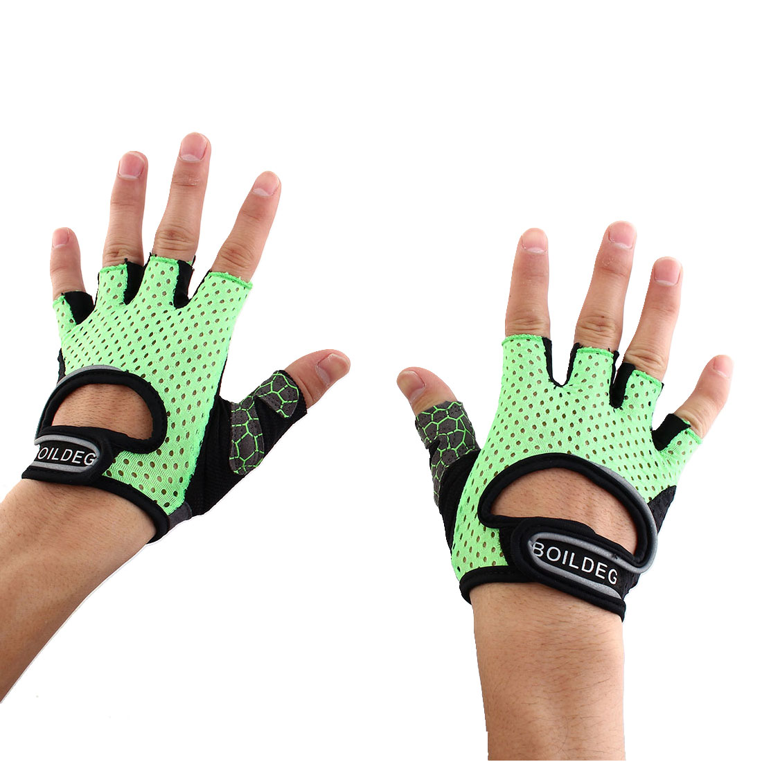 BOILDEG Authorized Unisex Sports Weight Fitness Exercise Workout Breathable Palm Support Gloves Green Size XL Pair