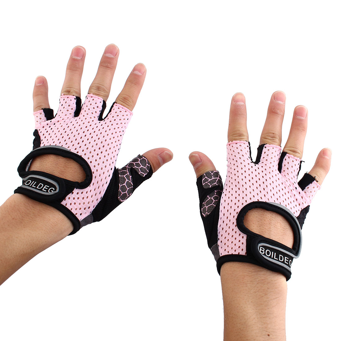 BOILDEG Authorized Unisex Sports Weight Fitness Exercise Workout Breathable Palm Support Gloves Pink Size L Pair