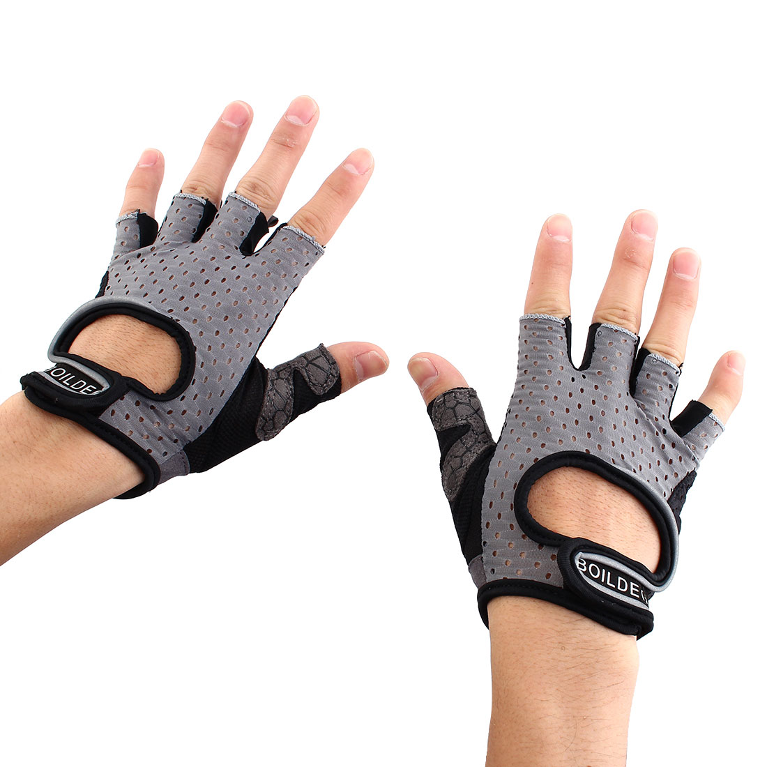BOILDEG Authorized Unisex Sports Weight Fitness Exercise Workout Breathable Palm Support Gloves Gray Size L Pair