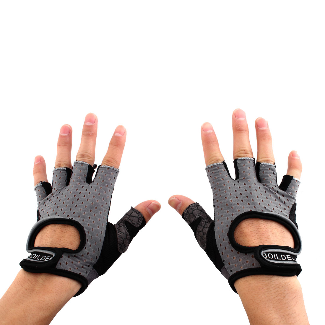 BOILDEG Authorized Unisex Sports Weight Fitness Exercise Workout Breathable Palm Support Gloves Gray Size XL Pair