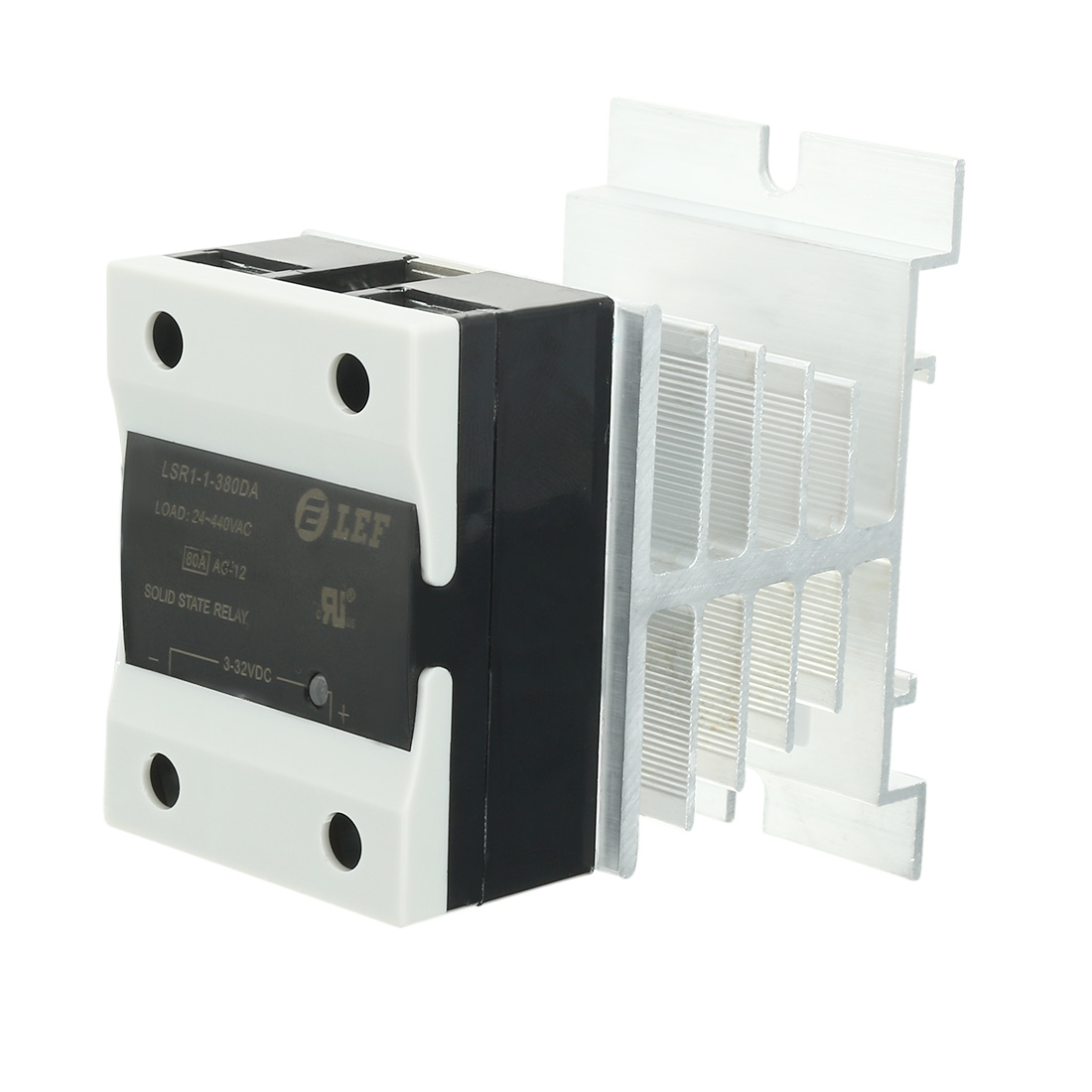 80A DC to AC 3-32VDC to 24-440AC Thermal Compound Solid State Relay + Heat Sink
