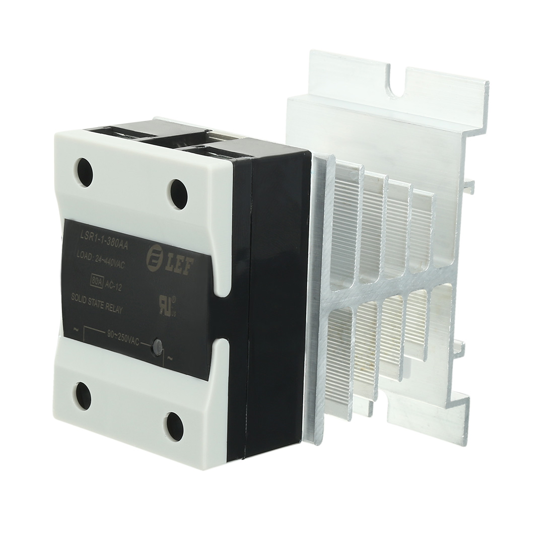 80A 90-250VAC to 24-440AC SSR Thermal Compound Solid State Relay + Heat Sink