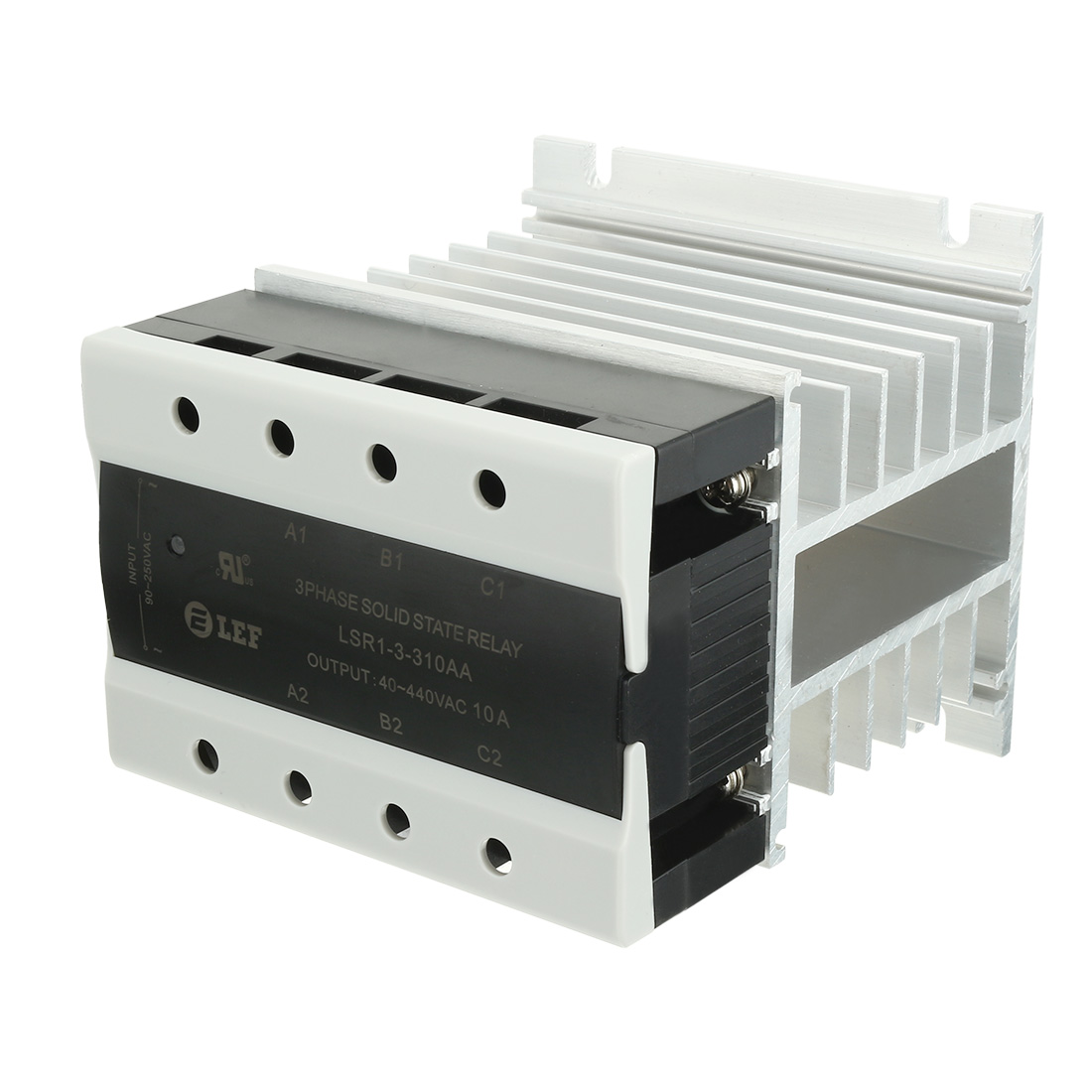 10A 90-250VAC to 40-440VAC SSR 3 Phase Solid State Relay + Heat Sink