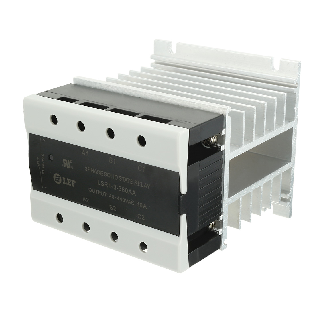 AC to AC 80A 90-250VAC to 40-440VAC SSR 3 Phase Solid State Relay + Heat Sink