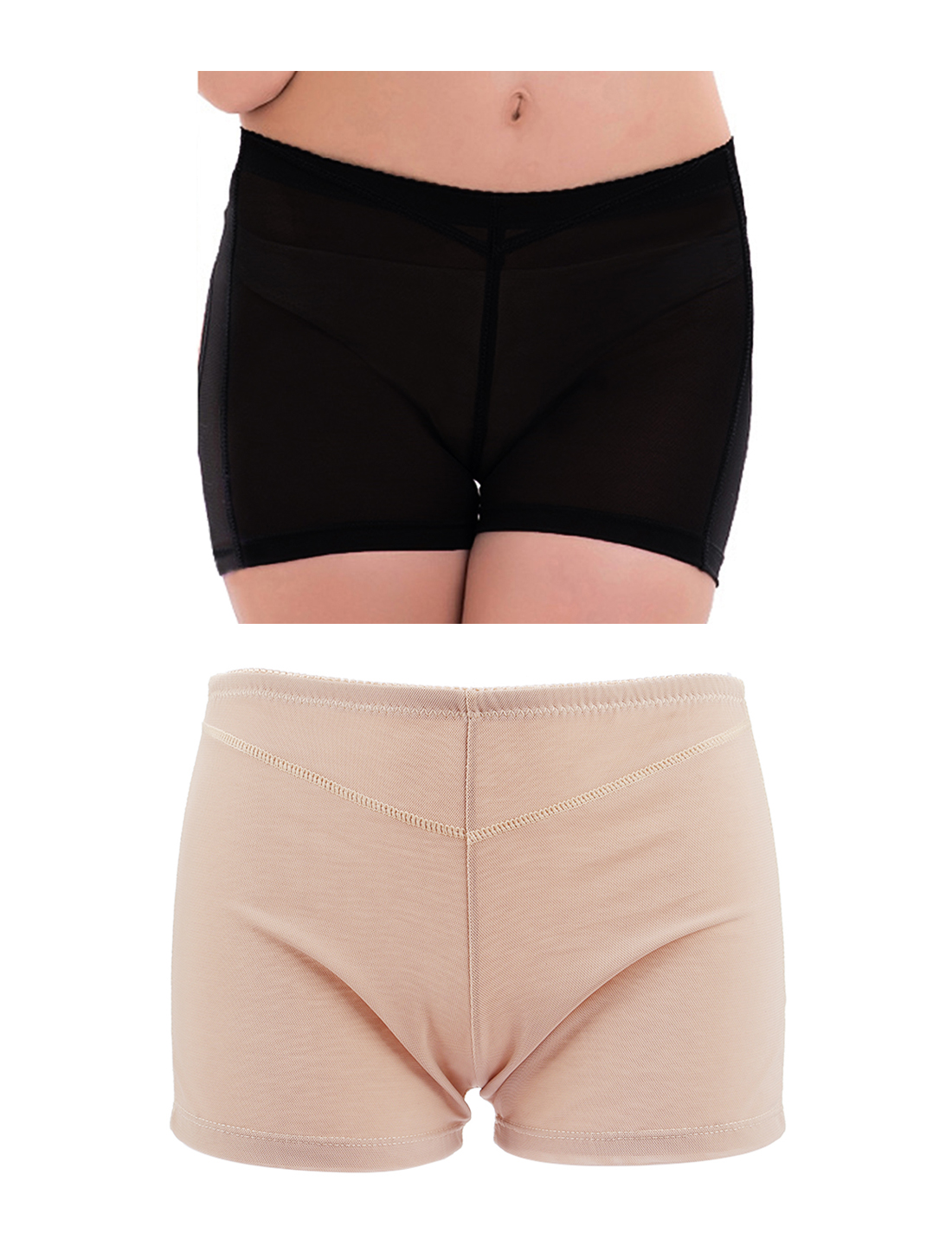 Women Butt Lifter Tummy Control Shapewear Enhancer Boyshort Underwear Beige Black X-Large