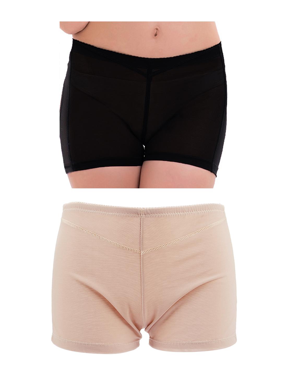 Women Butt Lifter Tummy Control Shapewear Enhancer Boyshort Underwear Beige Black XX-Large