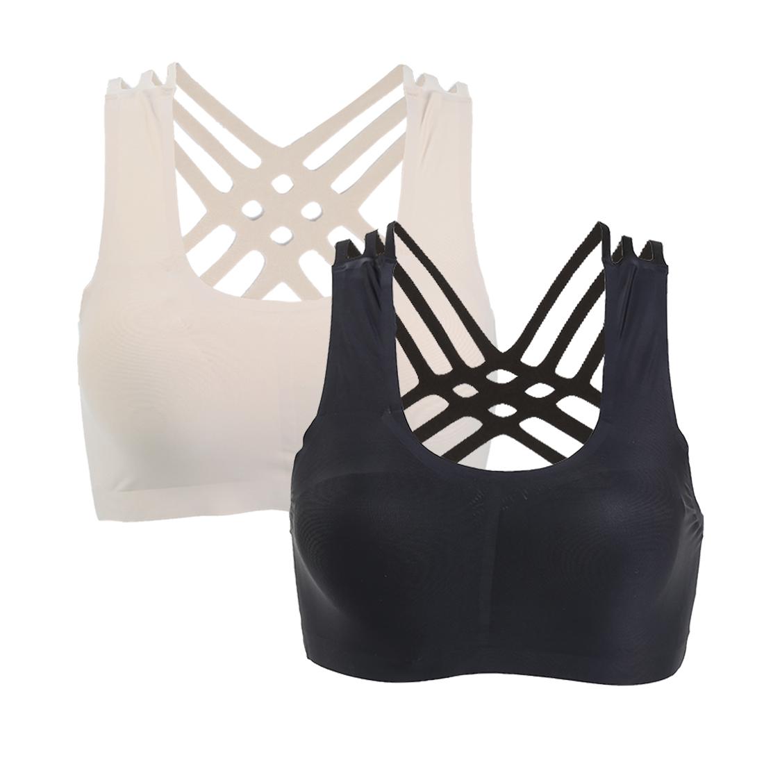 Women 2 Pack Ice Silk Wirefree Cross Back Yoga Sports Bra Large Black+Beige