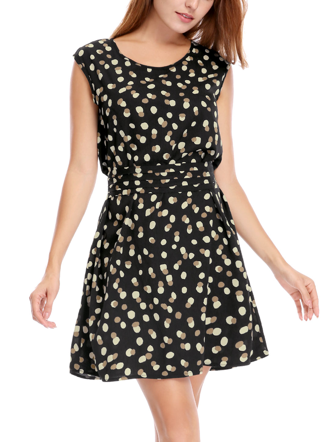 Women Dots Sleeveless Belted Above Knee A Line Dress Black XS