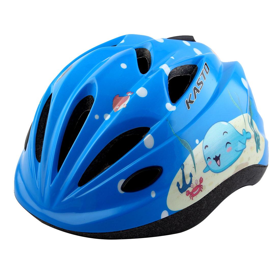 Boys Girls LED Light Adjustable Belt Removable Liner Road Cycling Mountain Bicycle Cap Safety Bike Helmet Blue