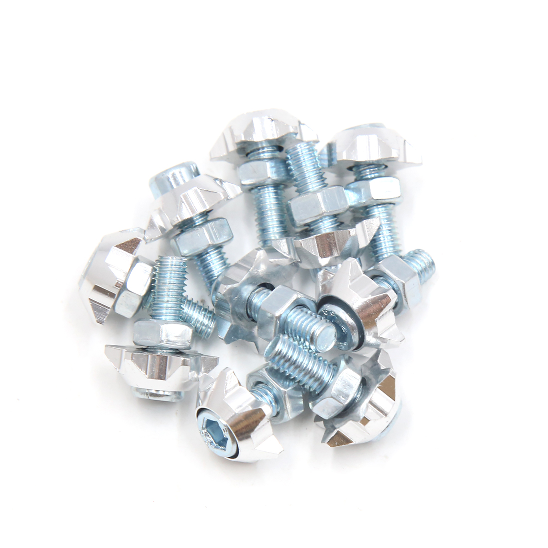 10pcs Silver Tone Aluminum Alloy Star Shaped Scooter License Plate Bolts Screws