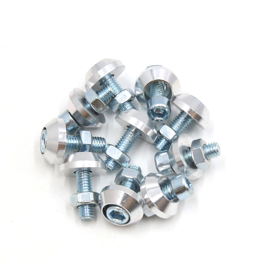 10pcs Silver Tone Aluminum Alloy Scooter Motorcycle License Plate Bolts Screws