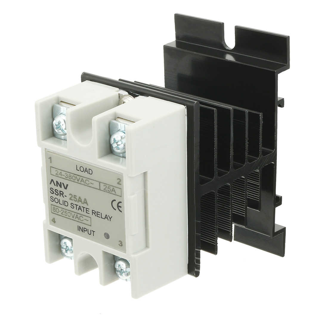 SSR-25AA AC 80-250V to 24V-380V Solid State Relay + Heat Sink + Thermal Compound