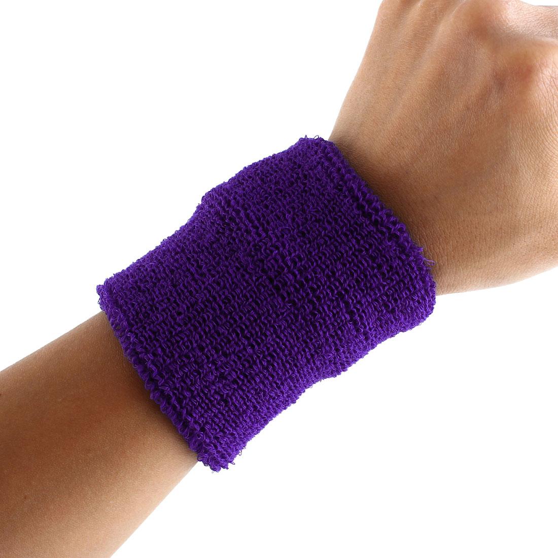 Exercises Gym Running Elastic Breathable Hand Protector Bandage Sweatband Wristband Sport Wrist Purple 2pcs