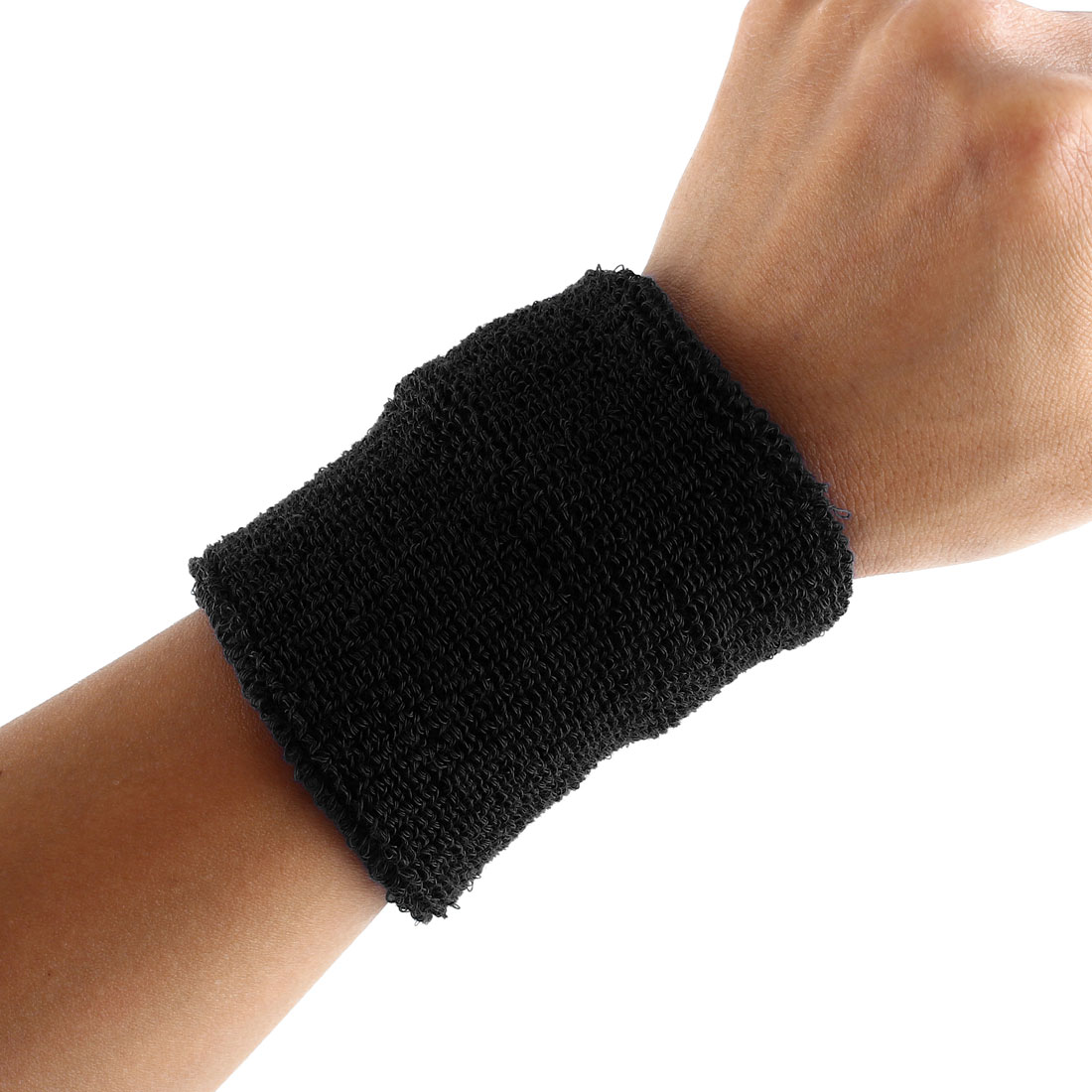 Exercises Gym Running Elastic Breathable Hand Protector Bandage Sweatband Wristband Sport Wrist Black 2pcs