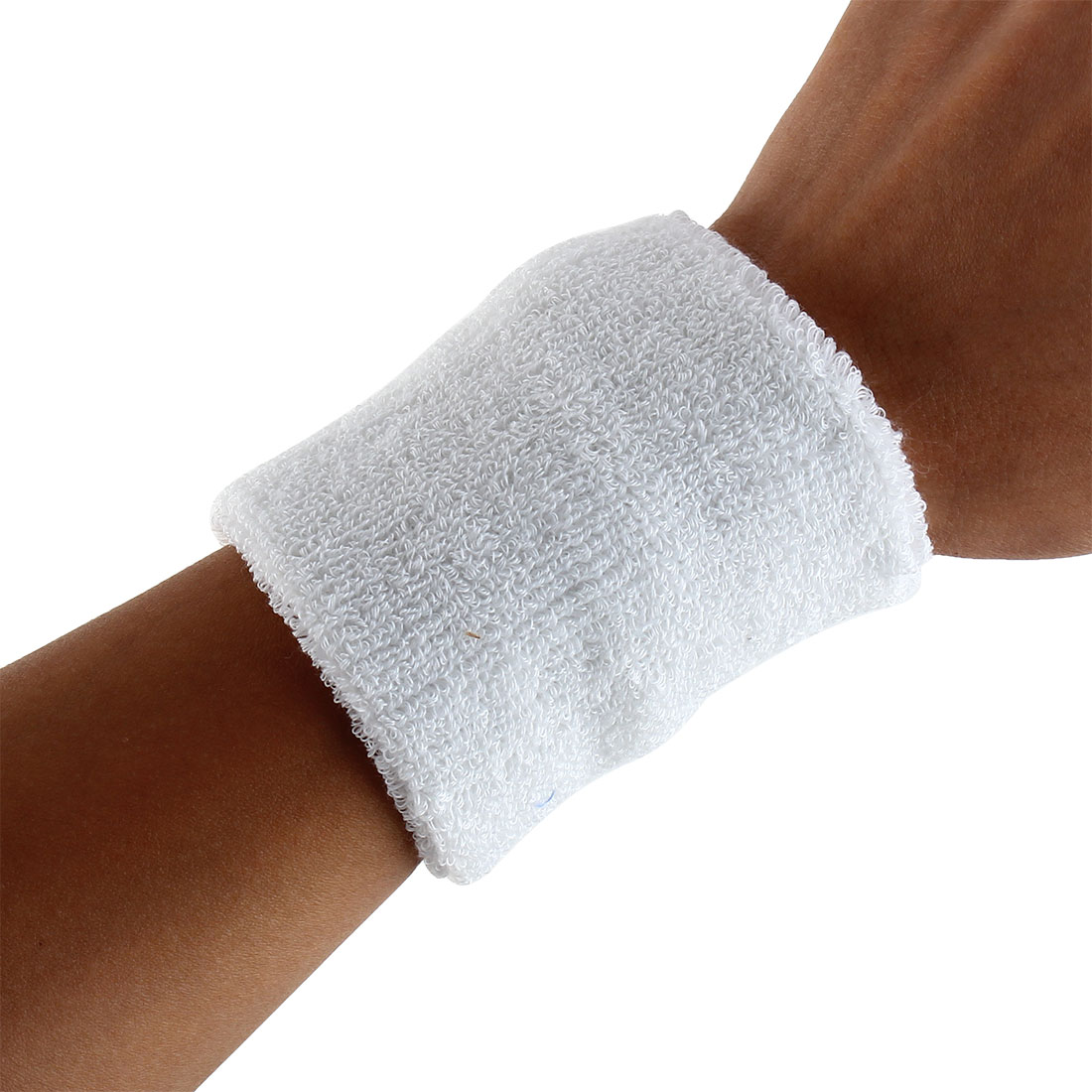 Exercises Gym Running Elastic Breathable Hand Protector Bandage Sweatband Wristband Sport Wrist White 2pcs