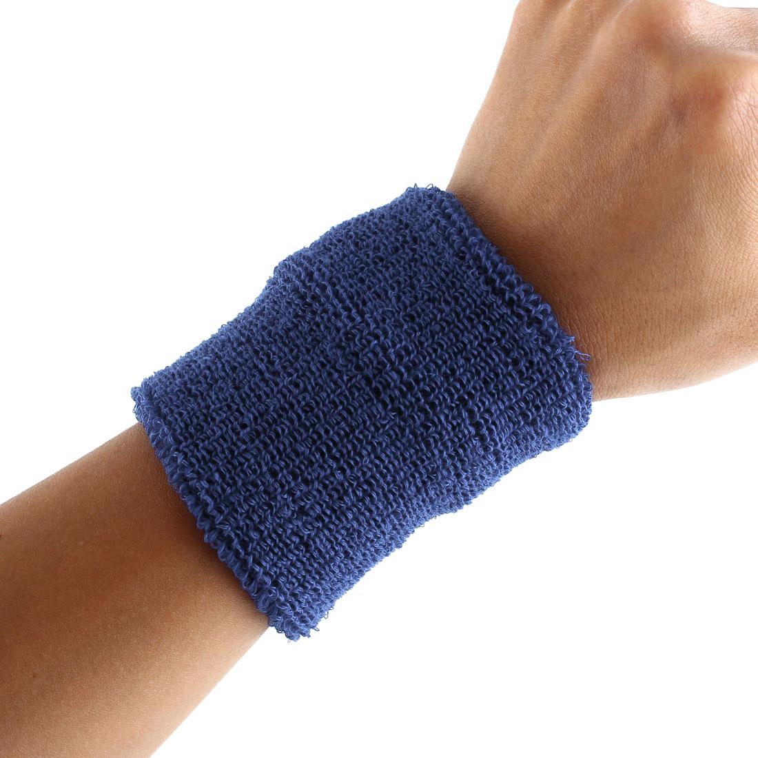 Exercises Gym Running Elastic Breathable Hand Protector Bandage Sweatband Wristband Sport Wrist Yale Blue 2pcs