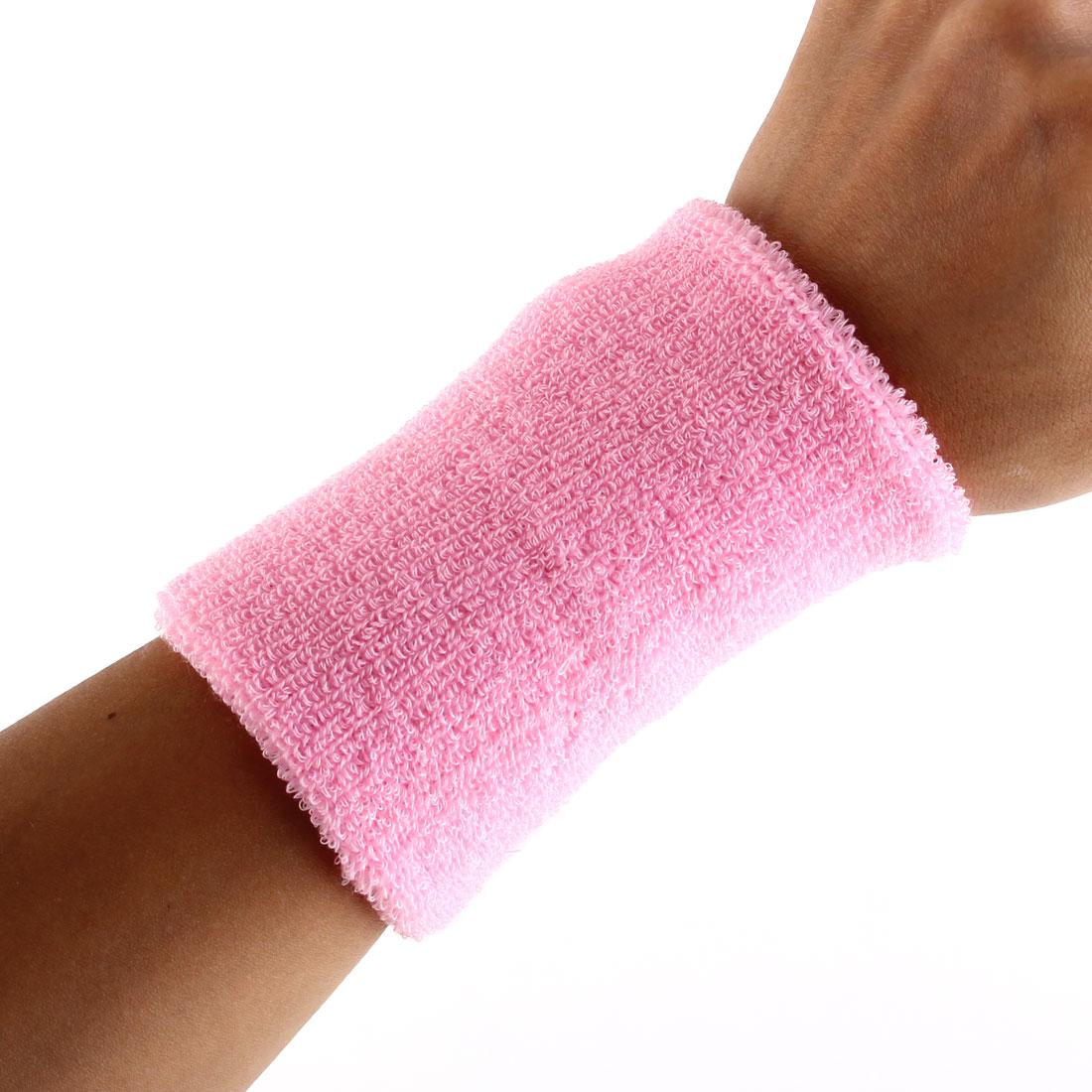 Exercises Football Gym Elastic Strap Hand Protector Sweatband Sport Wrist Pink 2pcs