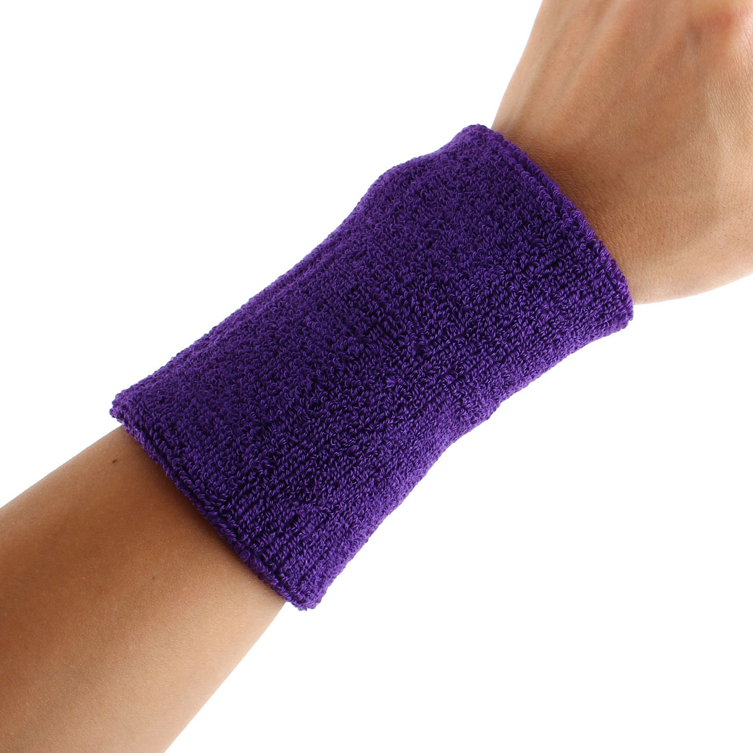 Exercises Football Gym Elastic Strap Hand Protector Sweatband Sport Wrist Purple 2pcs