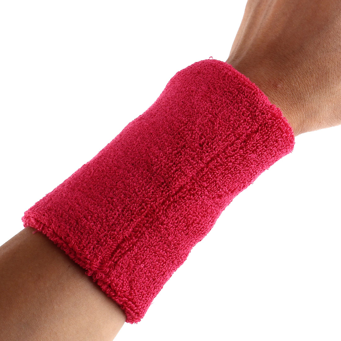Exercises Football Gym Elastic Strap Hand Protector Sweatband Sport Wrist Fuchsia 2pcs