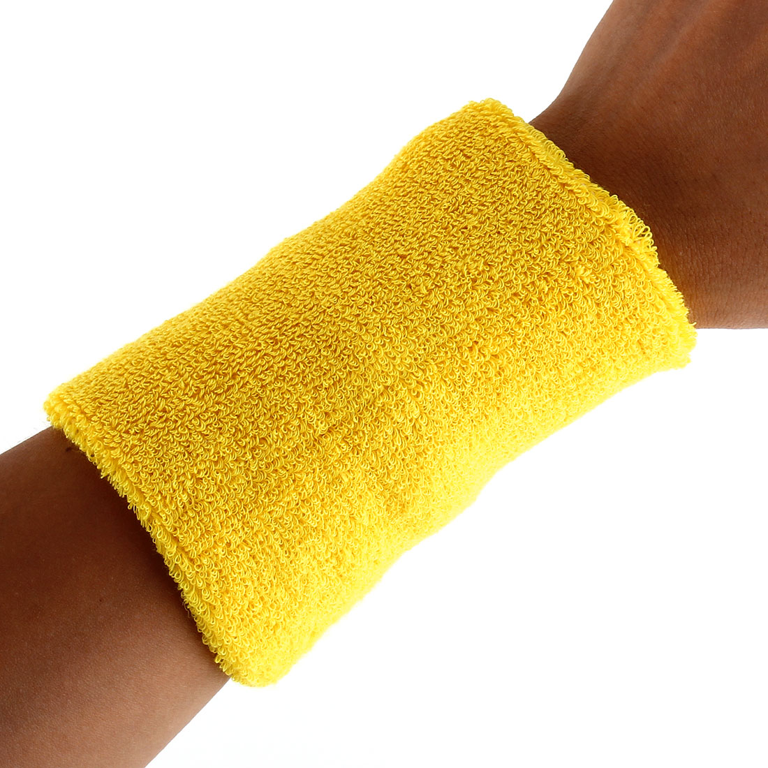 Exercises Football Gym Elastic Strap Hand Protector Sweatband Sport Wrist Yellow 2pcs