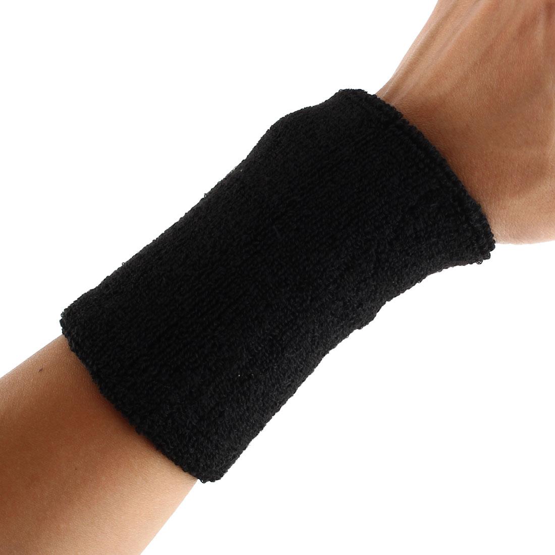 Exercises Football Gym Elastic Strap Hand Protector Sweatband Sport Wrist Black 2pcs