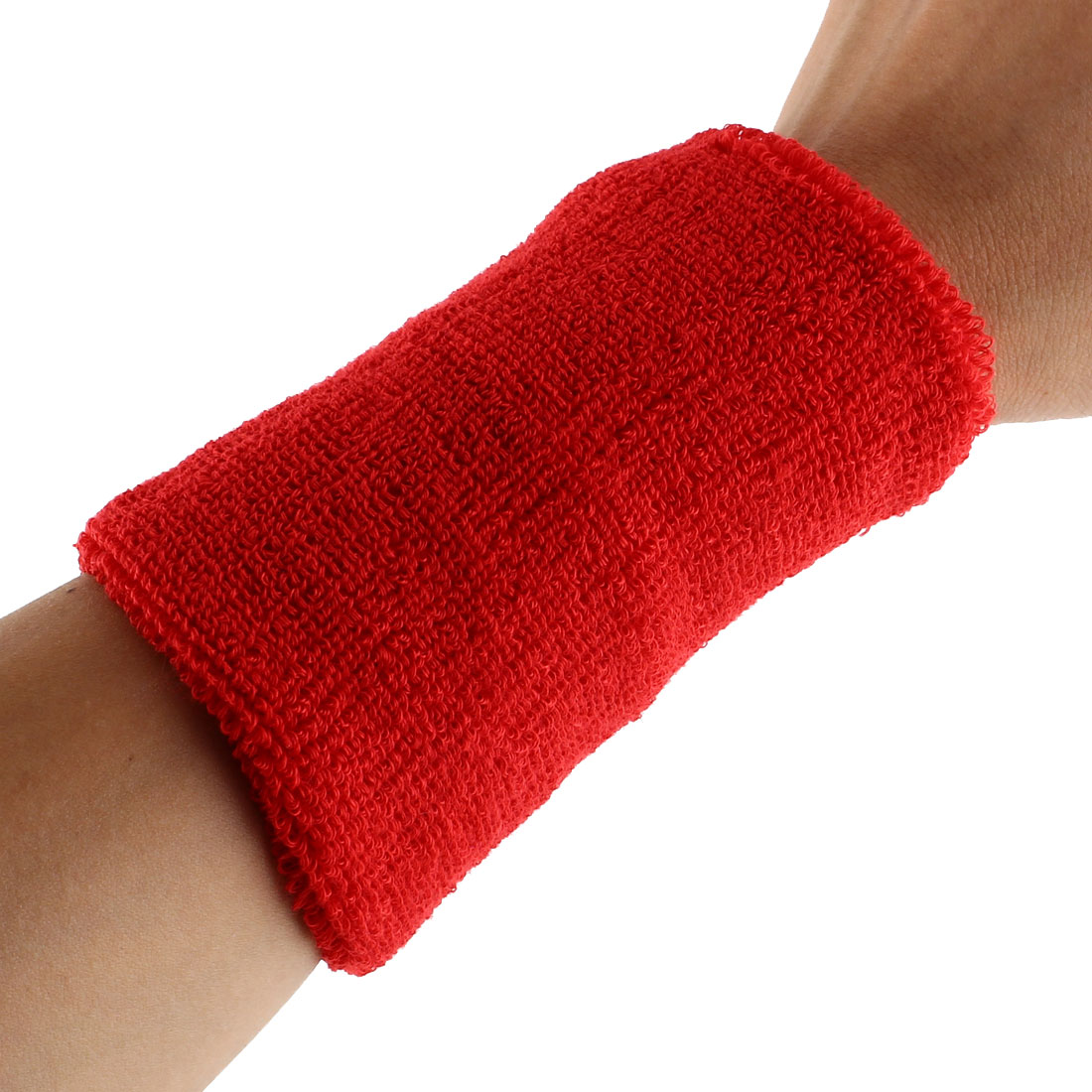 Exercises Football Gym Elastic Strap Hand Protector Sweatband Sport Wrist Red 2pcs