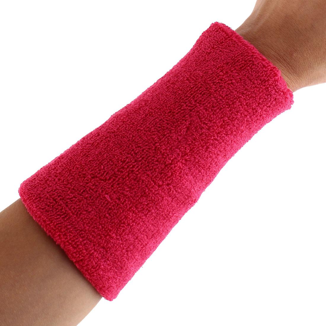 Exercises Basketball Running Hand Support Bandage Sweatband Wristband Sport Wrist Fuchsia 15cm Long 2pcs