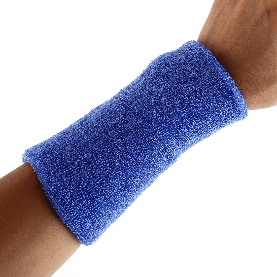 Exercises Basketball Running Hand Support Bandage Sweatband Wristband Sport Wrist Yale Blue 15cm Long 2pcs