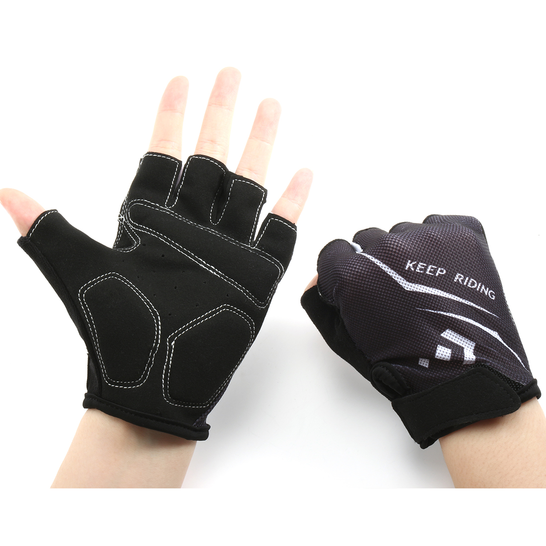 Outdoor Elasticized Fabric Sports Exercise Half Finger Cycling Gloves Palm Support Pair (White L)