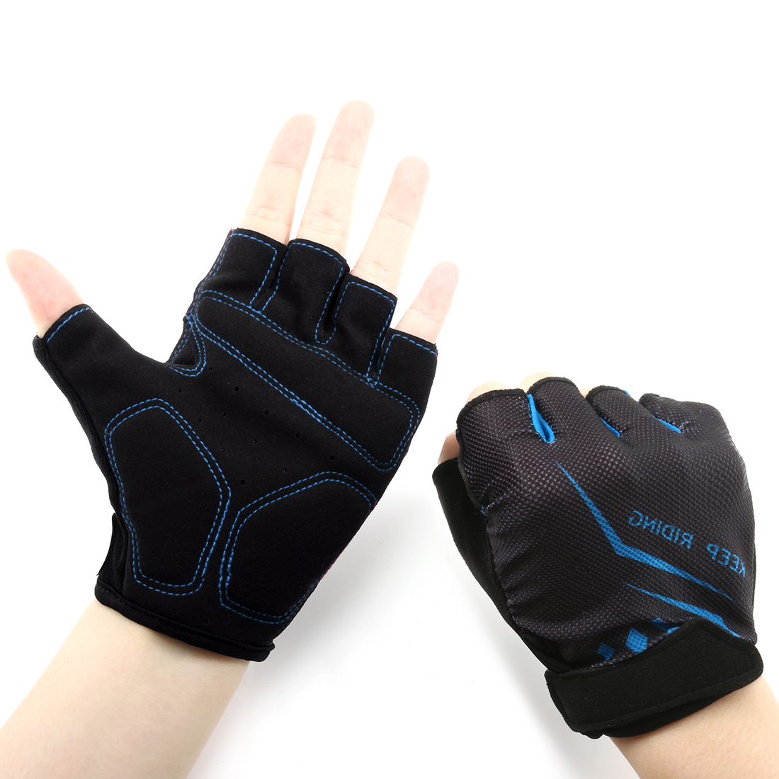 Outdoor Elasticized Fabric Sports Exercise Half Finger Cycling Gloves Palm Support Pair (Blue M)
