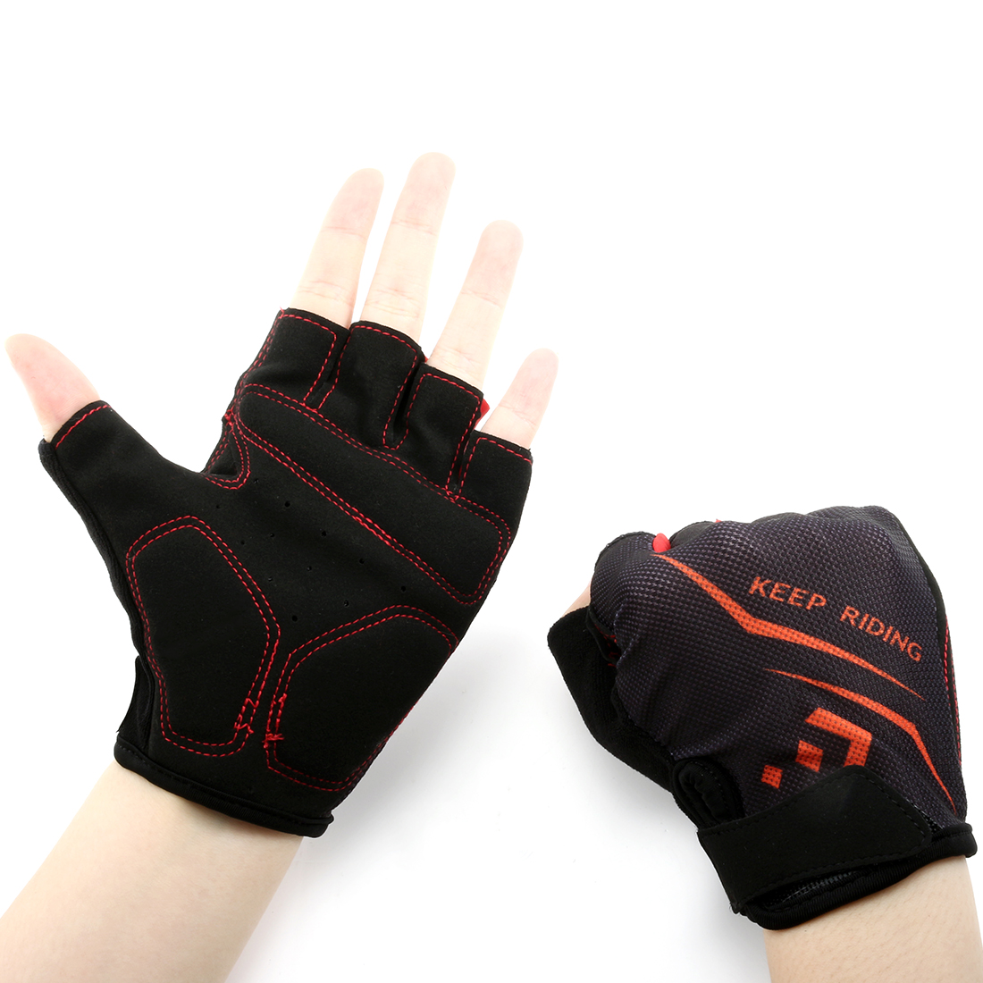 Outdoor Elasticized Fabric Sports Exercise Half Finger Cycling Gloves Palm Support Pair (Red M)